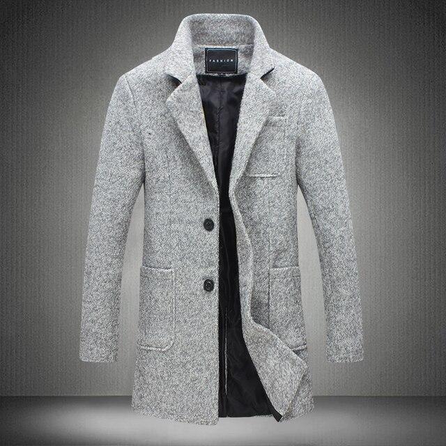 En el largo abrigo de invierno juventud masculina hombres Coreanos adelgazan con abrigo de lana de cachemira chaqueta de invierno engrosamiento
