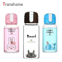 Transhome Cute Cartoon Water Bottle Creative Totoro Glass Drinking Bottle With Lid Transparent Portable Cap For