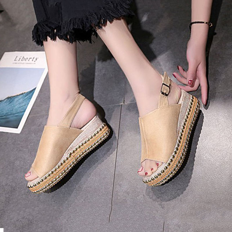 Senza Fretta Summer Women Wedge Heels Sandals Peep Toe Shoes High Heels Beach Shoes Lladies Rome platform Big Size sandalias резинки bizon резинка для волос