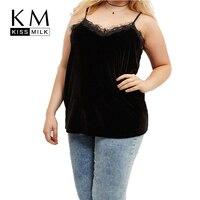 Kissmilk Plus Size Casual Sexy V Neck Lace Slim Large Size Vest Spaghetti Strap Tank Casual