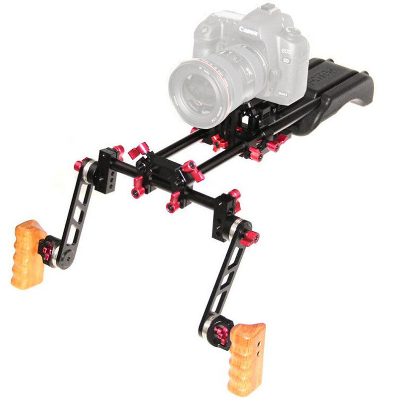 DSLR Shoulder Rig Video Camera Stabilizer Mount Support Cage Rig Kit w/Dual Handgrip For Canon Nikon Sony Camera Camcorder C9093 ylg0102h dslr shoulder mount support rig with camera camcorder mount slider shoulder lift set double hand handgrip holder set