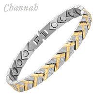 Channah Magnetische Rvs 2017 Armband Arrow Patroon Dames 2-Tone Gold Trendy Polsband Charm Bio Sieraden Vrouwen