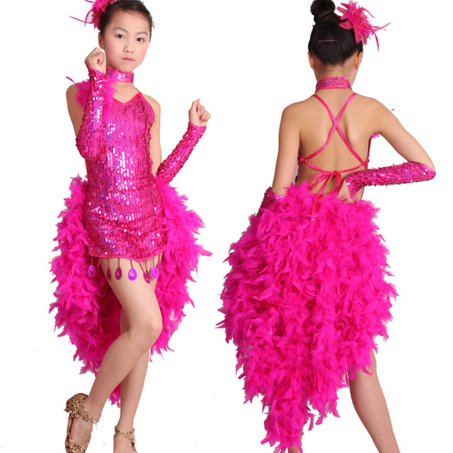 ef30b843dbc40 Hot New Girls Latin Dance Dress Costume Shining Sequin+Sexy Feather Skirt  Salsa Jazz Ballroom Dance Performance/Competition Wear