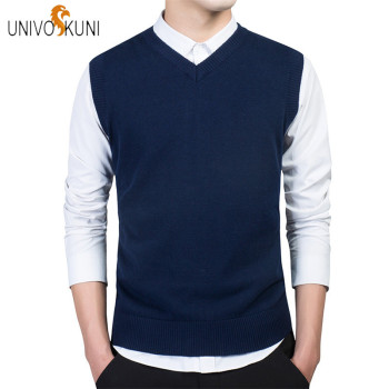 UNIVOS KUNI 2018 Autumn New Fashion Casual Men Sweaters Vest Slim Fit Cotton Solid Men Sweaters Pullover Vest Plus Size 3XL J256