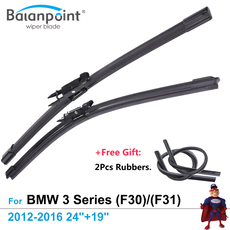 2Pcs Wiper Blades + 2Pcs Free Rubbers for BMW 3 Series (F30) Saloon & (F31) Touring 2012-2016 24+19, Good Windshield Wipers
