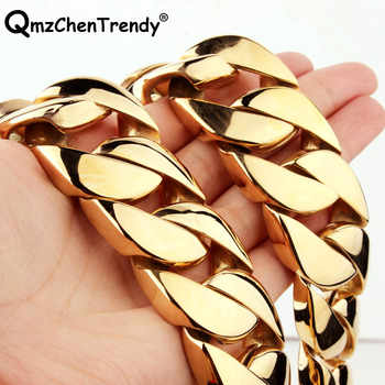 30mm 28 Inch T Show Super Heavy Curb Cuban Boys Mens Chain Necklace Gold Silver Tone Oversize Stainless Steel Exaggerate Jewelry - DISCOUNT ITEM  15% OFF All Category