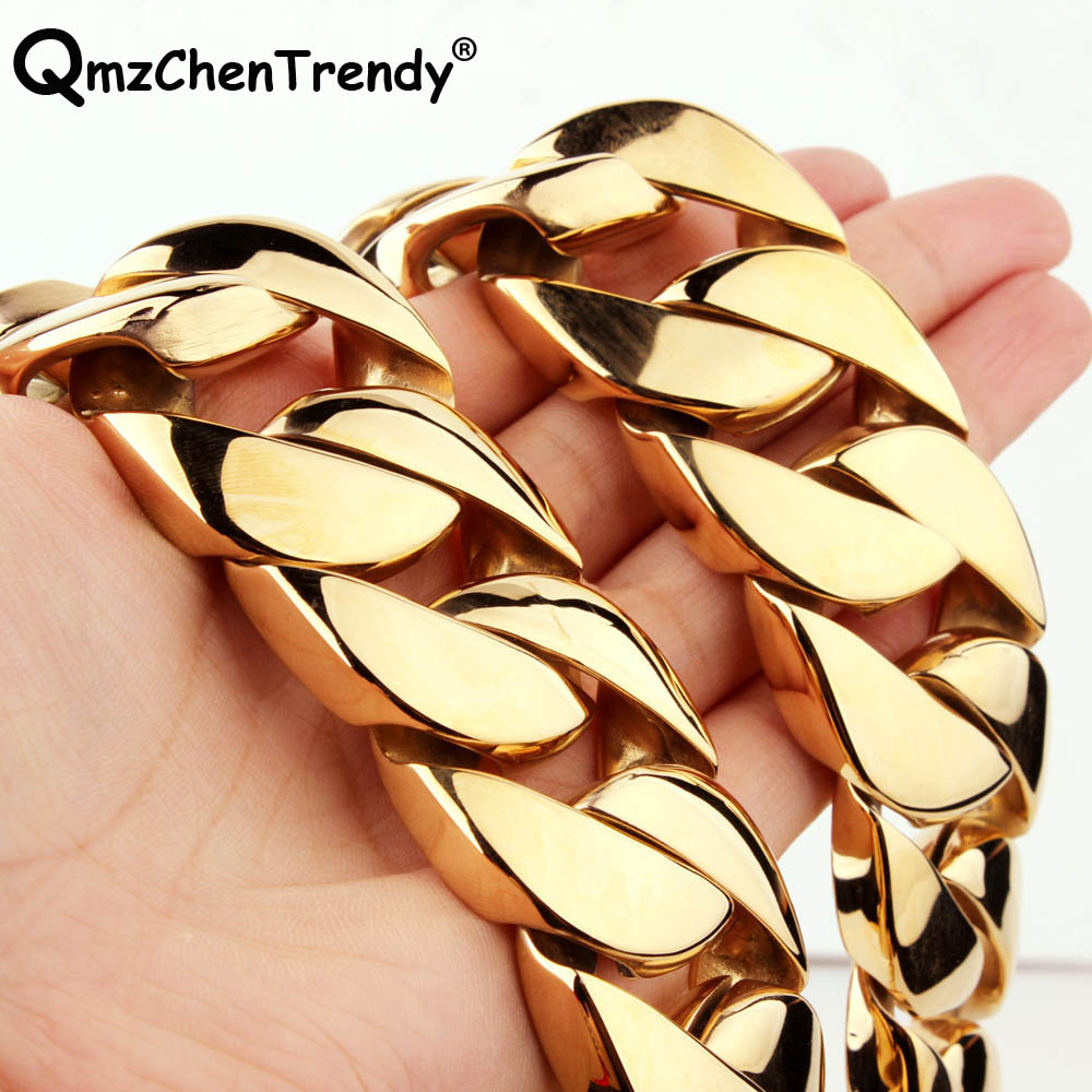 30mm 28inch T Show Super Heavy Curb Cuban Boys Mens Chain Necklace Steel Gold Tone Oversize Stainless Steel Exaggerate Jewelry