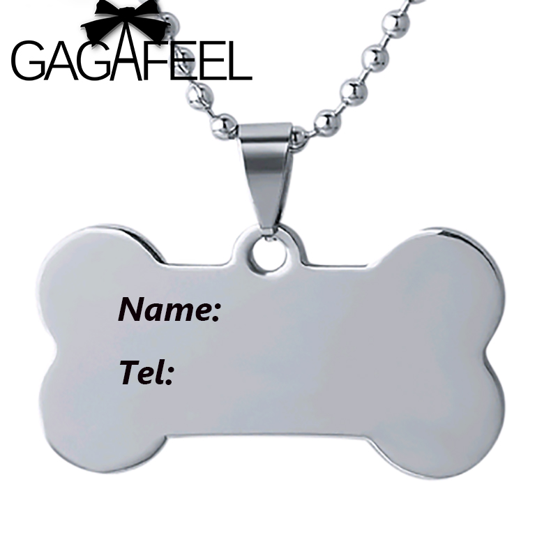 6c6d8a9035 GAGAFFEL Lovely Dog Tag Pendant Necklaces Stainless Steel Laser Engraving/ Customized Logo For Dogs Friendship Love Best Gifts-in Pendant Necklaces  from ...