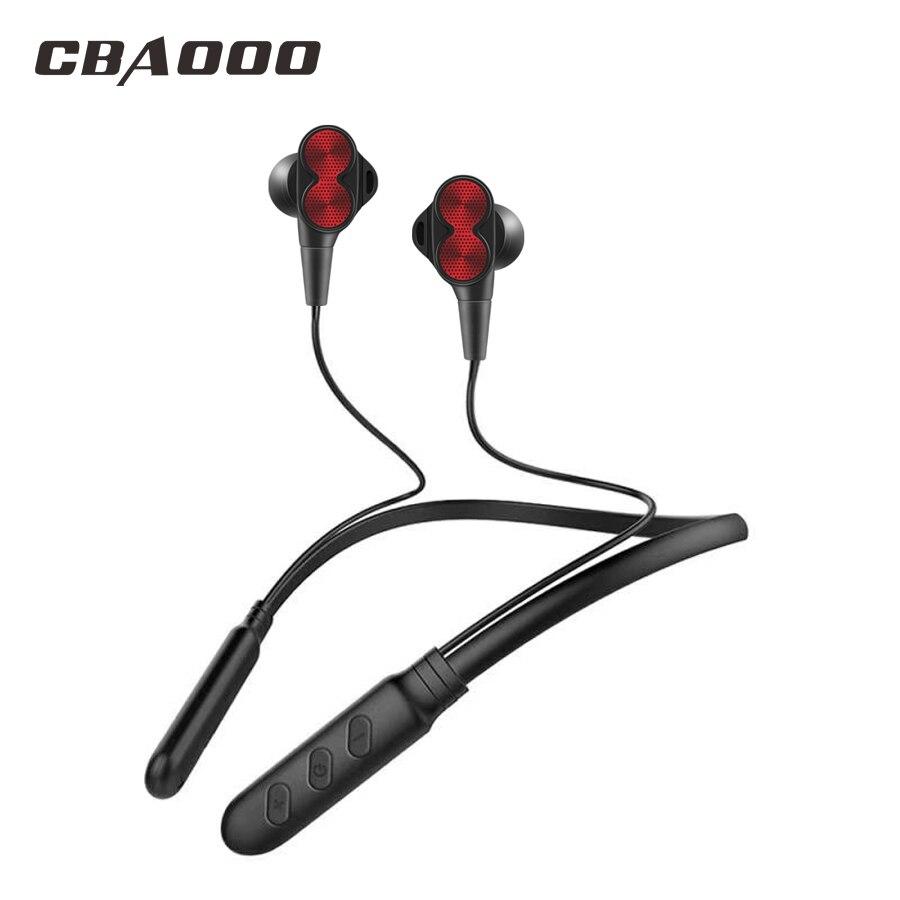 CBAOOO B800 inalámbrica Bluetooth auriculares deportivos doble tracción auriculares estéreo Bass auriculares Bluetooth con micrófono para teléfono