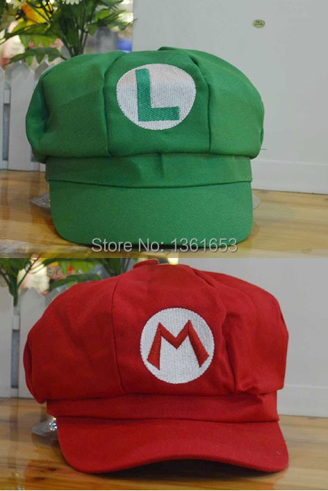 Hight quality cotton super mario Luigi hat green / red anime cosplay cap sun hats baseball women and man lover hat