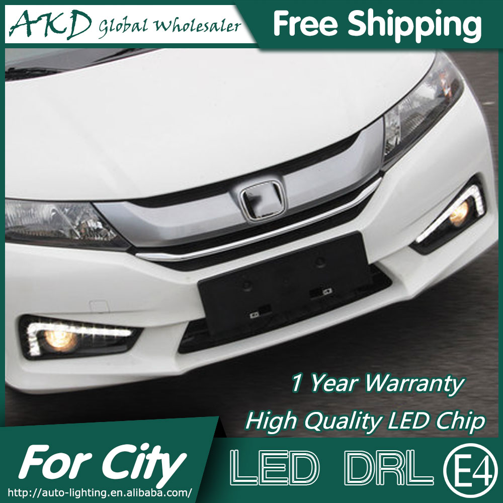 Akd car styling led fog lamp for honda city drl 2014 new city led drl daytime