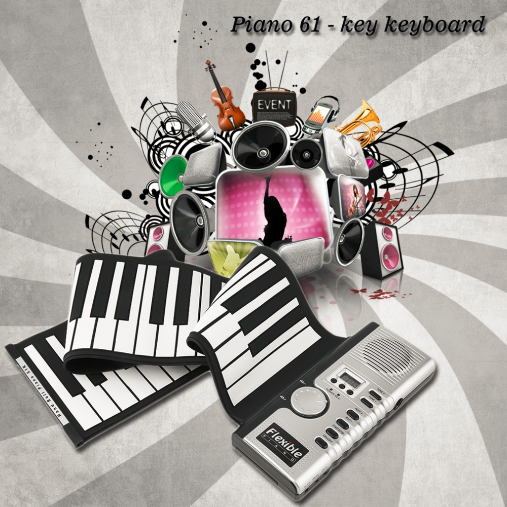 2017 Nuevo portátil 61 llaves Universal Flexible Roll Up Electronic Piano Soft Keyboard Piano envío libre