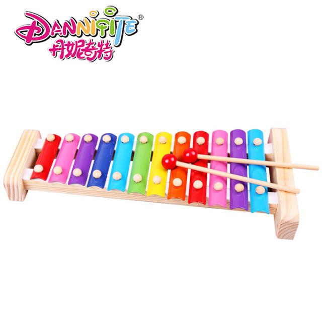 Danniqite 12-note El Xilófono De Madera Del Cabrito Del Niño Del Bebé Juguetes Musicales Xilófono Sabiduría Juguetes del Instrumento de Música