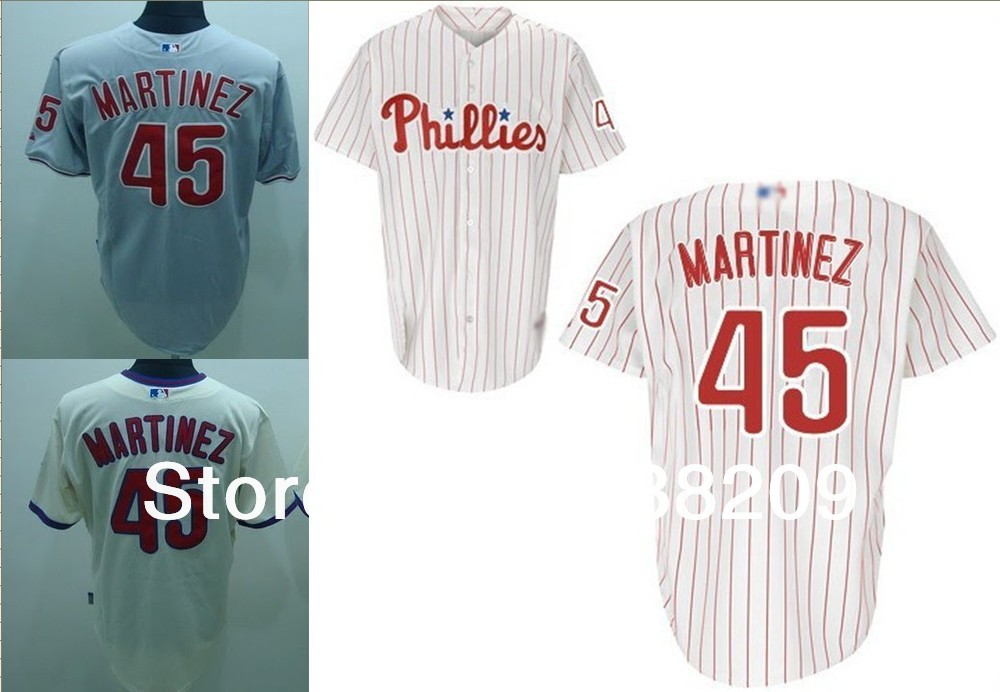 official photos e55e7 9e66d Free Shipping Philadelphia Phillies #45 Pedro Martinez ...