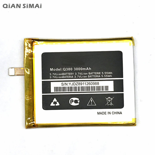 QiAN SiMAi 1pcs 100% high quality Q380 3000mAh Mobile Phone Replacement Battery For micromax Q380 +Tracking Code