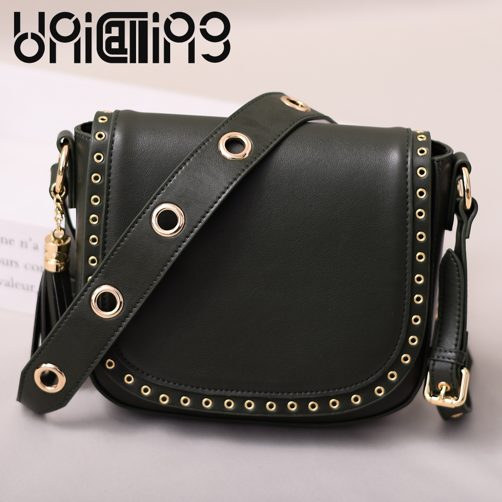 Fashion Split Leather women messenger bags Tassel rivet luxury small shoulder bags solid color Retro Top grade mini saddle bag new style messenger bag men leather top grade all match hasp fashion retro cow leather men bag solid color small shoulder bags