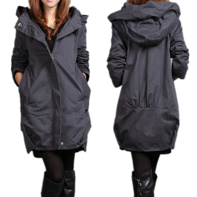 New Arrival 2015  women's plus size trench coat fashion casual loose outerwear Hooded long-sleeved cotton commute