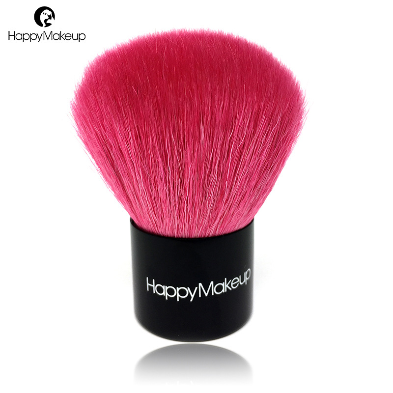 Happy Makeup Brush Professional Portable Kabuki Big Face Powder Blush Make Up Brush Rose Cosmetic Natural Goat Hair & Case Bag