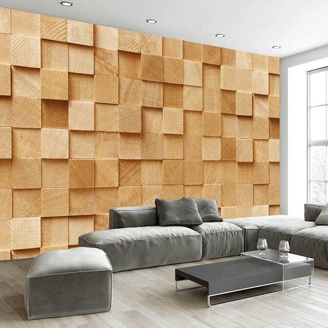 Latest Modern Simple Square Stereo 3D Mural Wallpaper Living Room ...
