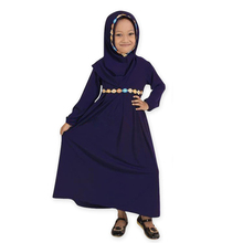 Middle East Hui girl long-sleeved Muslim set dress + headscarf two-piece of solid Arabic children