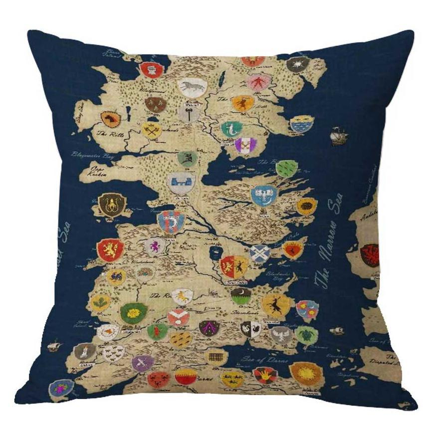 Modern Nordic Retro Game Of Thrones Map Pillow Case Middle Earth Map Poster Travel Cushion Cover For Home Decoration Accessories