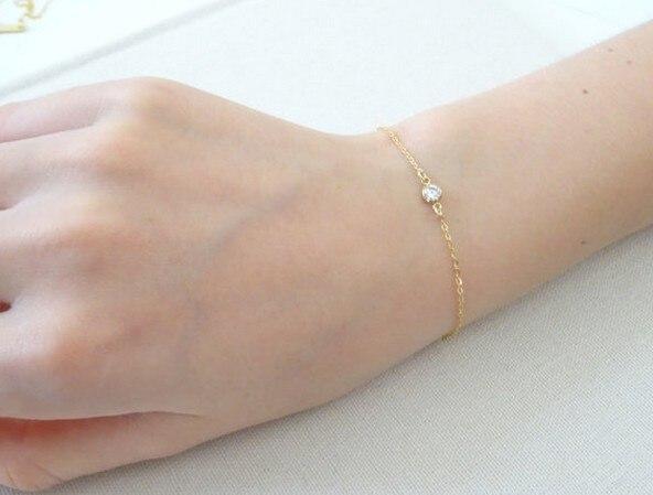 Simple Bracelert Thin Chain Zircon Charm Bracelet Silver And Gold Jewelry For Women
