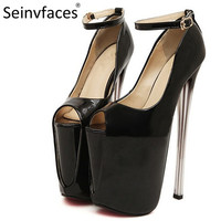 Plus size women sexy prom peep toe on the platform 19 & 22 cm more than 7 inches extreme thin high pumps heels shoes china F45