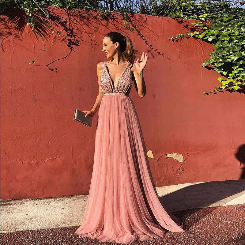 summer dress 2019 bohemian v neck suspenders robe sexy backless long dress elegant pink sleeveless sequin glitter ladies dresses
