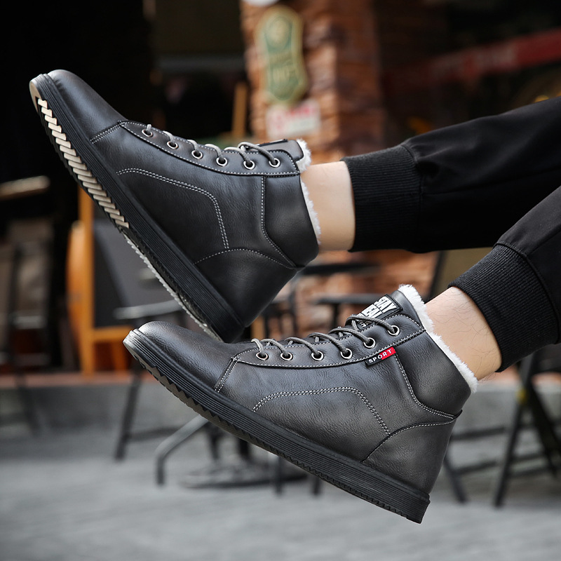 2018 Winter Fur Warm Male Boots For Men Casual Shoes Work Adult Quality Walking Rubber Brand Safety Footwear Sneakers Nov21 Basic Boots