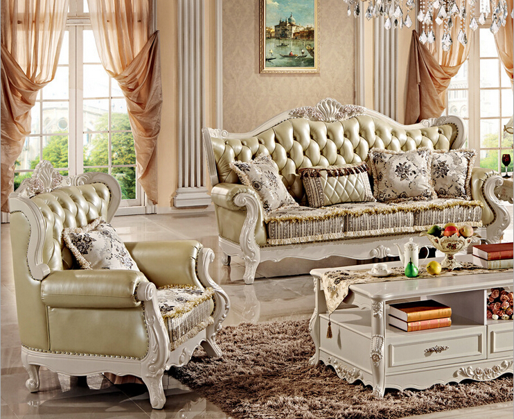 Classic European Hand Carved Sofa Set Furniture Solid Wood
