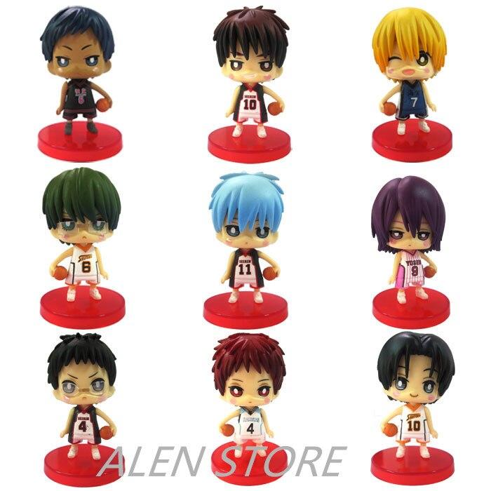ALEN 9pcs set Kuroko No Basket Q Version Figures with Basketball 7Cm Japan Anime Pvc Action Figures Kids Hot Toys for Children B