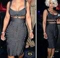 De Calidad superior HL Celebrity Profundo Gris 2 Unidades Partido de Tarde de Bodycon Del Vestido Del Vendaje Atractivo