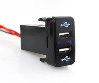 Iztoss 2 puerto usb cargador rápido de coche para iphone ipad ipod del teléfono móvil mp3 cargador de la cámara para los coches de toyota series