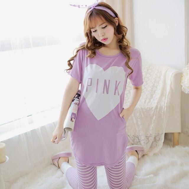 7b0ac6ec5f44 Ladies Summer Purple Love Cute Duck Animal Sleepwear Women Pijama Pyjamas  Nightgown Girls Printed Sleep Wear