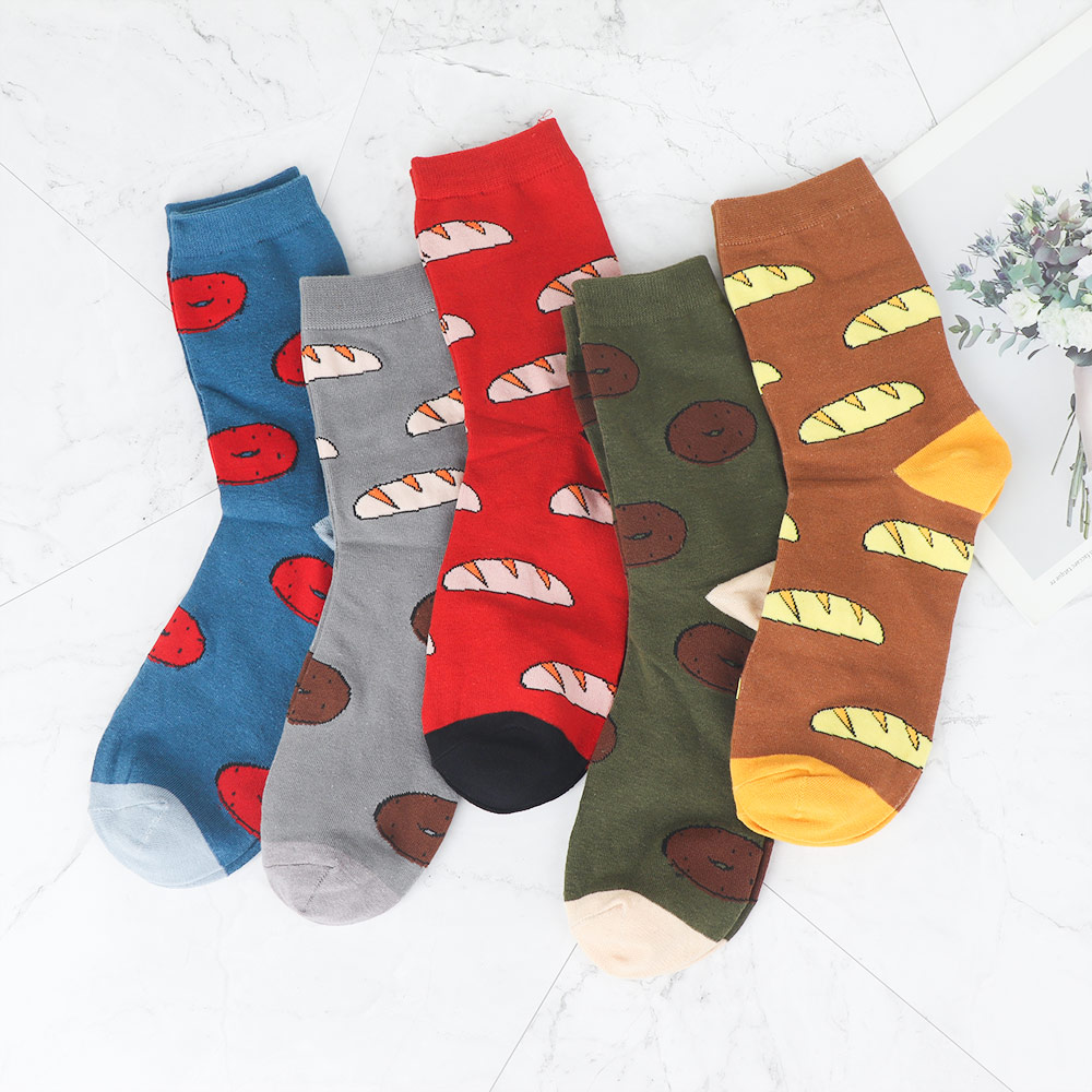 1 Pair Cool Colorful Food Bread Men Crew Socks Harajuku Jacquard Funny Street Happy Socks Calcetines Hombre Invierno