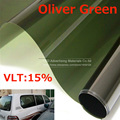 50 CM X 300 CM/Lot Side Car Window Tint Film Vidrio VLT 15% Oliver Verde Ventanilla del coche Película de la ventana Película solar Lado Verde por envío gratis