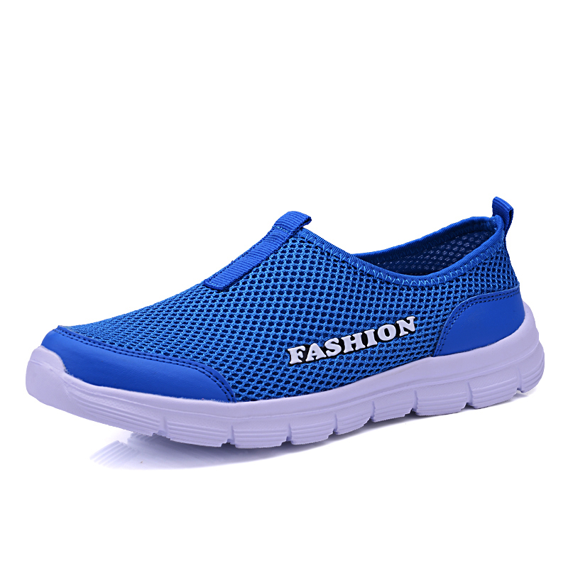 Slip On Shoes Men 2019 Summer Man Mesh Shoes Casual Shoes Lightweight Breathable Couple Walking Sneakers Feminino Zapatos Blue image