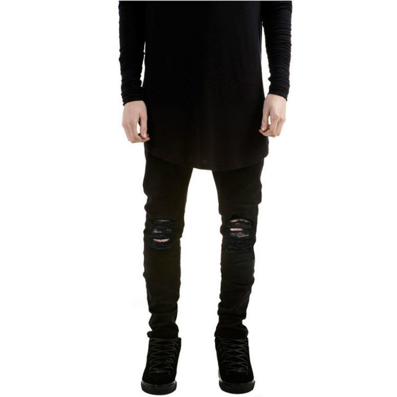 ripped jeans for men skinny Distressed slim famous brand designer biker hip hop swag tyga white black jeans kanye west new brand hi street for men ripped biker jeans hip hop skinny slim fit black denim pants destroyed swag joggers kanye west