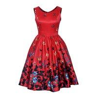 Merveille la beauté Plus La Taille Vintage Floral Papillon Impression 50 s 60 s Style Robe Femmes O Cou Sans Manches Clubwear formelle Robe