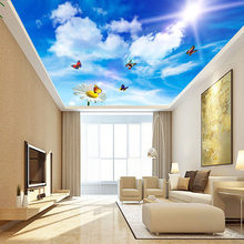 Custom 3D Photo Wallpaper For Blue Sky White Clouds Butterflies Flower Living Room Bedroom Ceiling Mural Wall Papers Home Decor(China)