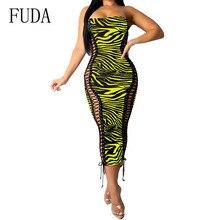 FUDA Fashion Printing Machine Eye Bodycon Bandage Dress Sexy Off Shoulder Wrapped Chest Pencil Summer Club Wear Vestidos