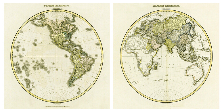 Hemispherical Map of 1878 Vintage Wall Hanging Frameless Canvas World Old Map/Paintings for Home/Office/Coffee Shop Decor