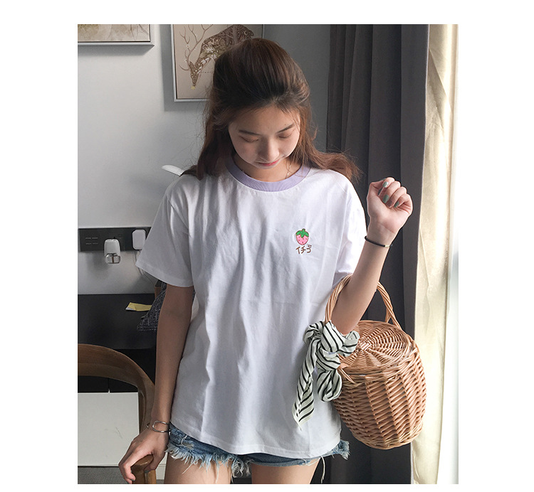 HTB1SkPHRpXXXXXFaFXXq6xXFXXXD - Cotton Fresh Sweet Simple Regular Summer Fruit Embroidered College Wind Patchwork Loose Cotton Short Sleeve Female T-shirts