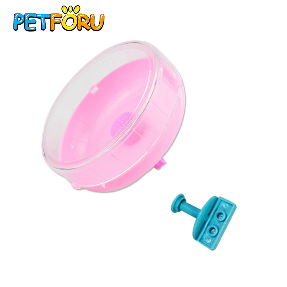 PETFORU Plastic Rat Hamster Mouse Mute Exercise Toys Silent Running Roller Spinner Wheel Pet Exercise Sport Jogging Wheel-Pink S