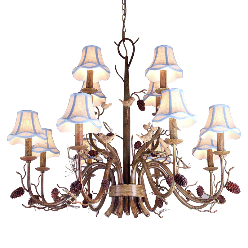 Lamp Wrought Iron Chandelier Lighting Artificial Flowers and Plants Chandeliers Creative White Chandelier Rustic forged lighting