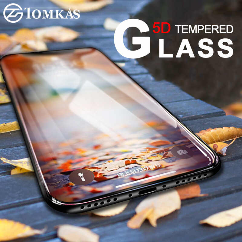 TOMKAS 5D Glass For iPhone X 10 XS XR XS Max Screen Protector Film Protective Glass on For iPhone 7 8 6 6S Plus Screen Protector