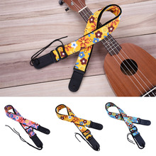 Ukulele Strap Ukulele Part Printed Cotton Strap Guitar Ukulele Strap Tropical Style Woven Cotton Double-end Reinforced Leather