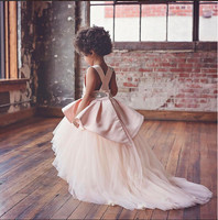 2018 pink high low flower girl dress with beaded open back tulle little kids pageant party gowns with long train cute baby dress
