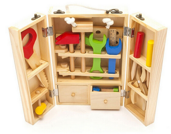 Aliexpress.com : Buy Kids Simulation Wooden tool kit set ...