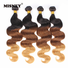 Remy Hair Extensions 3 Bundles Ombre Body Wave T1B/33/27 Three Tone Human Hair Weaving Machine Double Weft